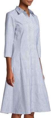 Lafayette 148 New York Cammi Diamond-Print Poplin A-Line Shirtdress
