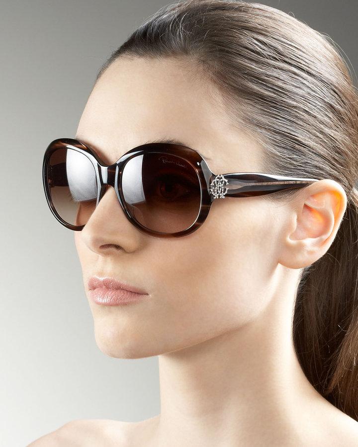 Roberto Cavalli Crystal Logo Sunglasses