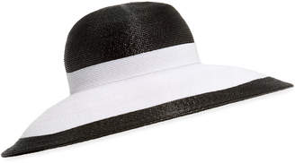Kokin Joan Two-Tone Lacquered Straw Structured Hat