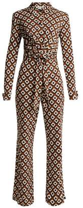 Diane von Furstenberg Michele Diamond Print Silk Jumpsuit - Womens - Brown Print