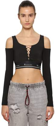 Alexander Wang Lace-Up Cotton Cropped Top