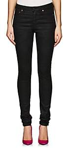 Saint Laurent Women's Coated Skinny Jeans - Black