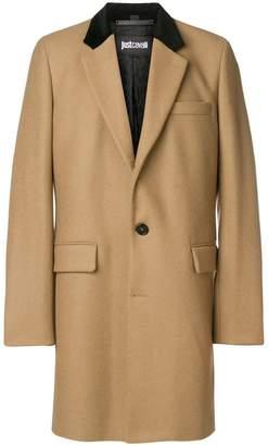 Just Cavalli contrast collar single breasted coat