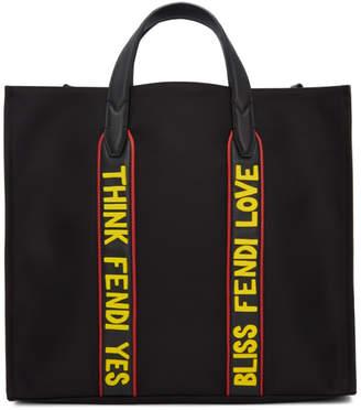 Fendi Black Nylon Think Yes Tote
