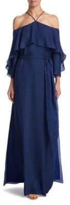 Halston Flounce Cold-Shoulder Gown