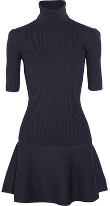 MICHAEL Michael Kors - Ribbed Stretch-knit Turtleneck Mini Dress - Midnight blue $175 thestylecure.com