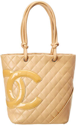 Chanel Beige Quilted Lambskin Leather Medium Cambon Tote