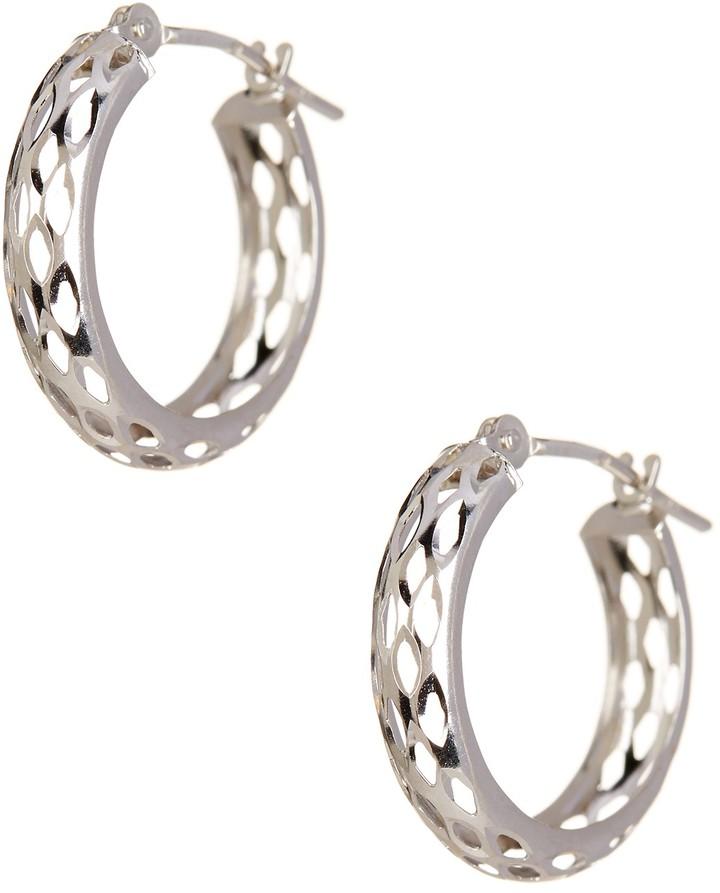 CandelaCandela 14K White Gold Mesh Diamond-Cut Hoop Earrings