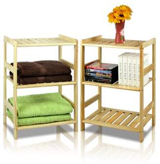 Furinno 2-33011 Pine Solid Wood 3-Tier Storage Shelf 2-Piece Set