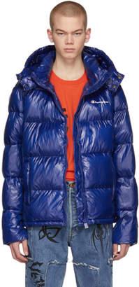 Champion Reverse Weave Blue Hooded Puffer Jacket