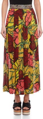 Save The Queen Floral Pattern Sheer Skirt