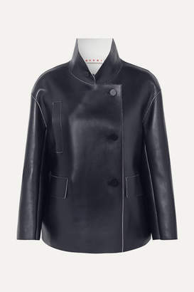 Marni Double-breasted Leather Jacket - Navy