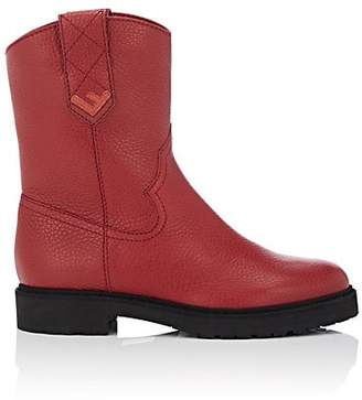 Fendi Women's Shearling-Lined Leather Ankle Boots - Red