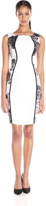 Jax Women's Floral Print Sides and Shutter Pleat Sheath, Ivory/Black