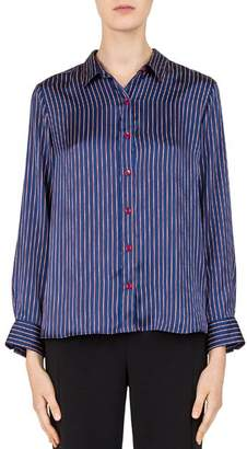 Gerard Darel Laurette Striped Satin Button-Down Shirt