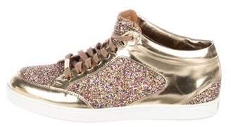 Jimmy Choo Glitter Round-Toe Sneakers