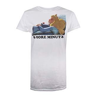 Disney Women's 5 More Minutes T-Shirt, White, (Size:Medium)