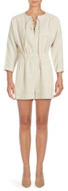 Derek Lam 10 Crosby Solid Lace-Up Short Romper