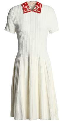 Valentino Embellished Crepe-Trimmed Cable-Knit Dress