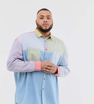 Asos Design DESIGN Plus oversized 90's style cut & sew denim shirt in pastels