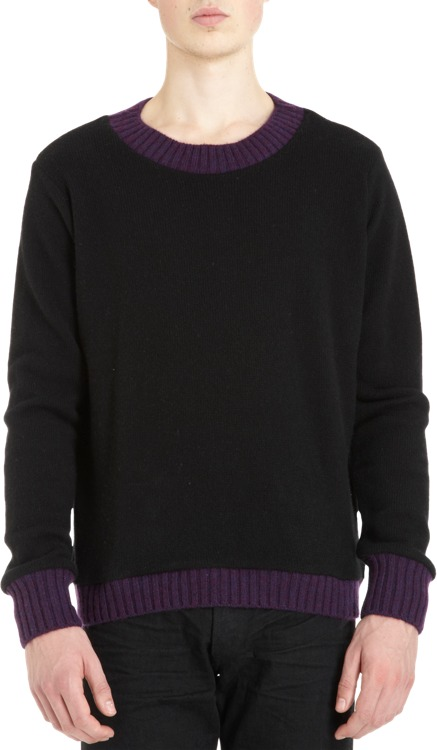 The Elder Statesman Contrast Collar Sweater