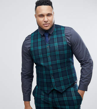Asos Design Plus Super Skinny Suit Waistcoat In Blackwatch Tartan