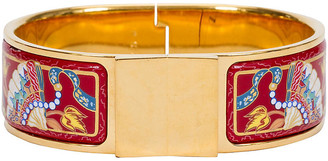 One Kings Lane Vintage HermAs Hinged Red Enamel Cuff Bracelet - Vintage Lux