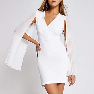 River Island White pleated sleeve mini bodycon dress