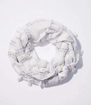 LOFT Texture Stripe Tasseled Infinity Scarf