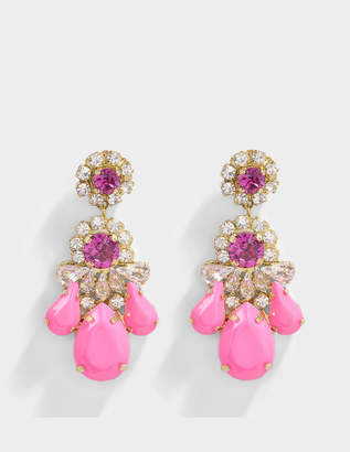 Shourouk DS Neon Pink Earrings in Pink Brass and Swarovski Crystals