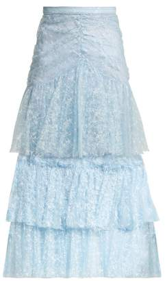 Rodarte Tiered Ruffled Lace Midi Skirt - Womens - Blue Print