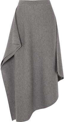 J.W.Anderson Asymmetric Merino Wool Midi Skirt - Gray