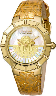 Roberto Cavalli By Franck Muller 37mm Leather Watch w/ Rotating Diamond Dial, Gold/White