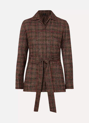 Akris Belted Checked Wool Jacket - Brown