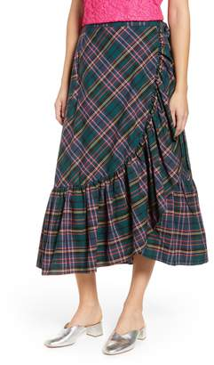 J.Crew Plaid Ruffle Wrap Skirt
