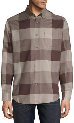 ST. JOHN'S BAY Mens Long Sleeve Plaid Button-Front Shirt Slim