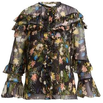 Erdem Margery Mariko Meadow Print Silk Chiffon Blouse - Womens - Black Multi