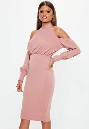 Missguided Rose Pink Halterneck Cold Shoulder Midi Dress
