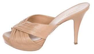 Prada Peep-Toe Slide Sandals Tan Peep-Toe Slide Sandals