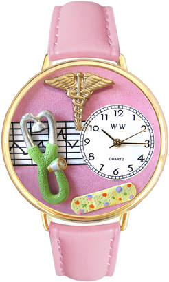 Whimsical Watches Personalized Nurse Womens Gold-Tone Bezel Pink Leather Strap Watch