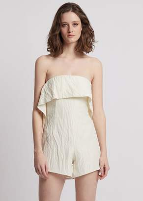 Emporio Armani Jumpsuit With Shorts And Maxi Ruches On The Front