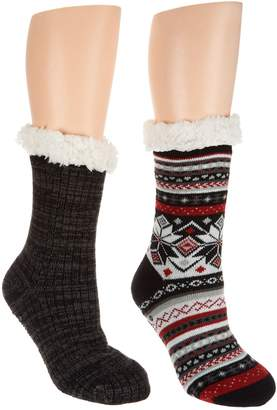 Muk Luks Jojoba Infused Cabin Socks with Faux Fur Set of Two