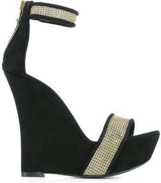 Balmain Black Suede Wedge Shoes