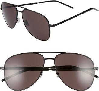 Saint Laurent Classic 11 Folk 59mm Aviator Sunglasses