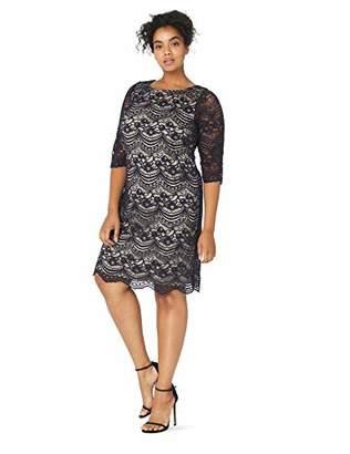 Jessica Howard Women's Plus Size Three Quarter Sleeve Shift Dress