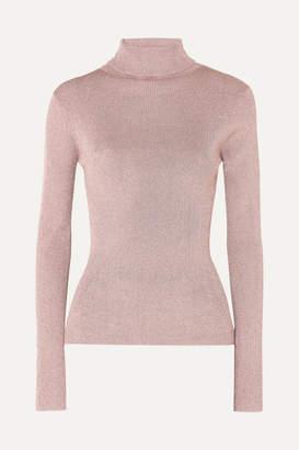 3.1 Phillip Lim Ribbed Lurex Turtleneck Sweater - Blush