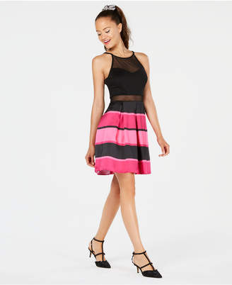 BCX Juniors' Striped Illusion Fit & Flare Dress
