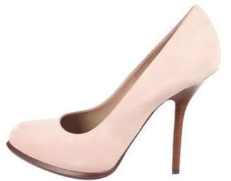 Celine Suede Round-Toe Pumps Pink Suede Round-Toe Pumps