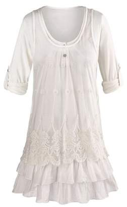 SHALIMAR OVERSEAS Women's Tunic Top Set - White Lacey Tank Top and 3/4 Roll Tab Sleeve Blouse