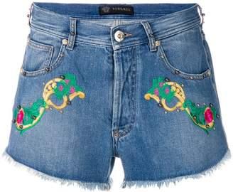 Versace denim embroidered shirts